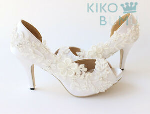 "WHITE IVORY 2"" 3"" 4"" Open Toe Satin Ribbon bridal low high heels wedding shoes"