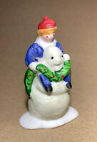 Lemax - Christmas Village Bisque Porcelain Figurine, Snowman with Boy