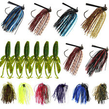 18pcs Weedless Bass Football Jig Swim Jigs Silicon Rubber Skirt Artificial Baits