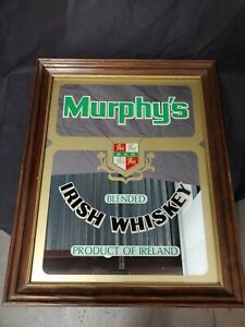 Murphy's Blended Irish Whiskey Mirror Bar/Pub Advertisement Sign Vintage