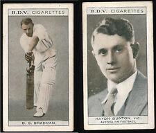 1933 Don Bradman BDV Cigarette card Haydn Bunton back Cricket Aust  Football