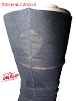 French Fully Fashioned Stockings Seamed Opaque 40 Denier Black Key Hole Welt Sz9