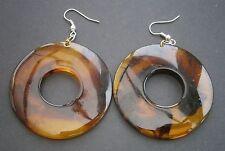AT63 retro acrylic plastic brow faux tortoiseshell doughnut shaped hook earrings