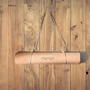 Myga Cork Yoga Mat Rubber Back Pilates Gym Fitness Non Slip Eco Friendly 2mm New