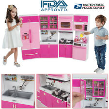 Kitchen Playset For Girls Pretend Play Refrigerator Toy Cooking Set Toddler Kid