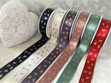 Berisfords SPARKLE BEE Bees - metallic print on 6 shades of Ribbon - 25mm  *NEW*