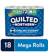 Quilted Northern Ultra Soft & Strong Toilet Paper, 18 Mega Rolls (= 72 Regular)