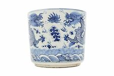 """Beautiful Blue and White Porcelain Round Chinese Dragon Flower Pot Bowl 12"""""""