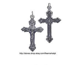 Crucifix pendant necklace jesus Christ cross ALL METAL Fatima Portugal God bless