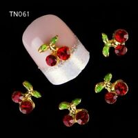 10 Pcs Shiny Cherry Shape Nail Art Crystal Stone Studs Glitters Charms FREE SHIP