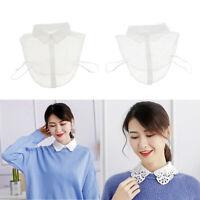2pcs femmes dentelle mousseline faux collier détachable demi-chemise col