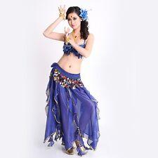 Belly Dance Bra Top Costume 3 pcs set with Hip Belt skirt Sequins Dance School