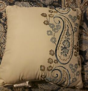 "Cream w Blue Embroidered Paisley Linen Decorative Throw Pillow, 18""x 18"""