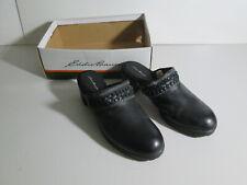 Eddie Bauer Happy Slip On Clogs Slides Mules Shoes Black Leather NIB Sz 11