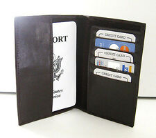 BROWN USA PASSPORT COVER Travel Leather ID Credit Card Document Holder P2