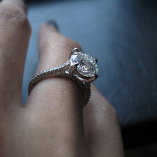 2.00 Ct Natural Solitaire Round Diamond Rings Solid 14K White Gold Size 5 6 7 8
