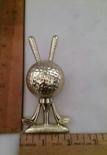 Gold Golf Trophy Topper/Placque With Two Clubs and Golf Ball.