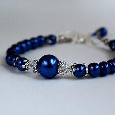 Midnight blue vintage pearls crystals beaded bracelet wedding bridesmaid gift