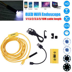 8 LEDs 8.0mm WiFi Endoscope Borescope Inspection HD 1200P Camera For iOS Android