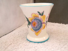 COALPORT CHINA SMALL FLARED VASE WITH A BLUE AND YELLOW FLOWER PATTERN