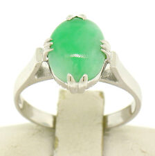 Vintage 14k White Gold 1.66ct Prong Set Oval Cabochon Green Jade Solitaire Ring