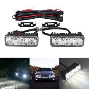 2× 7000K High Power White 3LED Car DRL Daytime Running Light Fog Lamp Universal