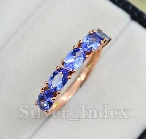 6X4MM Oval Tanzanite Natural Gemstone 14K Solid Rose Gold Wedding Ring For Women