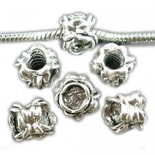Blumen Stopper für European Beads 11mm silber Schraubgewinde Perlen Rondelle