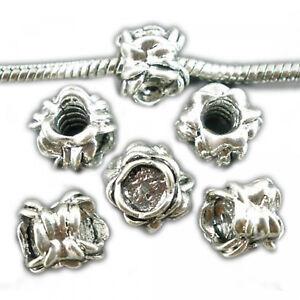 Flowers Stopper For European Beads 11mm Silver Thread Beads Rondelle