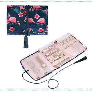 Jewelry Travel Organizer Case Portable Foldable  Floral Flamingo