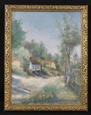 Huile sur toile représentant un paysage signée Isquen en bas  août 1946