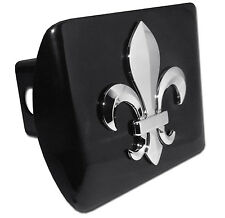 Fleur de Lis Chrome Metal Black Hitch Cover (3-D) New Orleans Saints