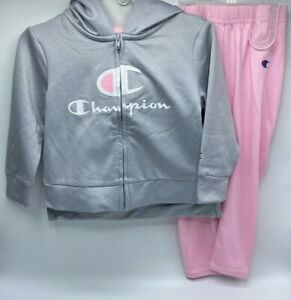 Girl's Size 2T 2-Piece Adorable Champion Zip-Up Hoodie & Pants Outfit Set