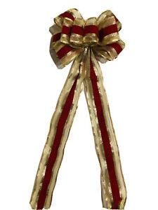 34 In L 9 In W Bright Red Gold Ribbon Bow Christmas Tree Topper