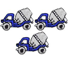 Mini Cement Truck Applique Patch - Concrete Mixer (3-Pack, Small, Iron on)