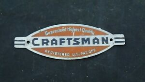 Vintage Sears Craftsman Name Badge Drill Table Saw Jointer Lathe tool box