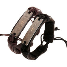 Fashion Adjustable Bible Scripture Cross Leather Bracelet Punk Religious Bangle
