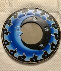 """BALI MOON & STARS MIRROR 16"""" Hand Carved & Painted NEW Blue"""
