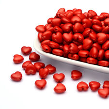 100pcs Opaque Acrylic 3D Heart Beads Red Valentines Loose Spacers Smooth 10x11mm
