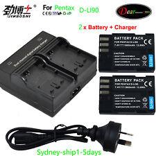 2X D-li90 D-l190 Battery for Pentax 645D K-3 K-5 K5 IIs II K-7 K7 K3 K5 645 645Z