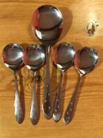 Vintage Silver Plated EPNS Dessert Set 4 Spoons & Serving Spoon Starlite