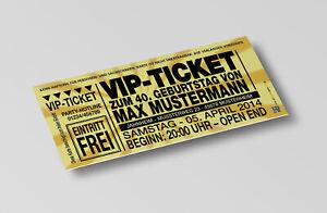 Einladungskarten Geburtstag Geburtstags-Einladung 30 40 50 60 70 VIP-Ticket gold