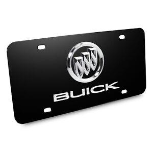 Buick Dual Logo License Plate (Chrome on Black)