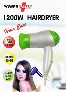 Hair Dryer With Foldable Handle 2 Speed 2 Heat Setting 1200W Professional Green