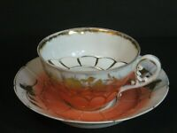 Antique Mustache Cup & Saucer HP Decoration Scalloped Peach/Gold Ornate Rare EUC