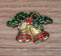 NWT ST JOHN Knits Gold Tone Crystal /& Enamel Jingle Holly Christmas Pin Brooch