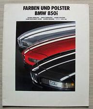 BMW 850i Car LF Colours & Upholstery Brochure Feb 1990 #011080799 2/90VM
