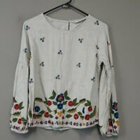Zara size S Floral Embroidered long Balloon sleeve blouse top BOHO Peasant