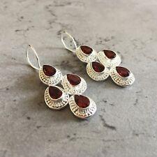 Extravagante Silber 925 Ohrringe mit Granat in Tropfenform