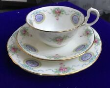 AYNSLEY CHINA Trio Cup Saucer plate Bow Ribbon Floral Medallion Bleu Rose Rose